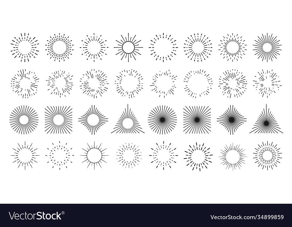 Sun line burst circles light rays and star shine