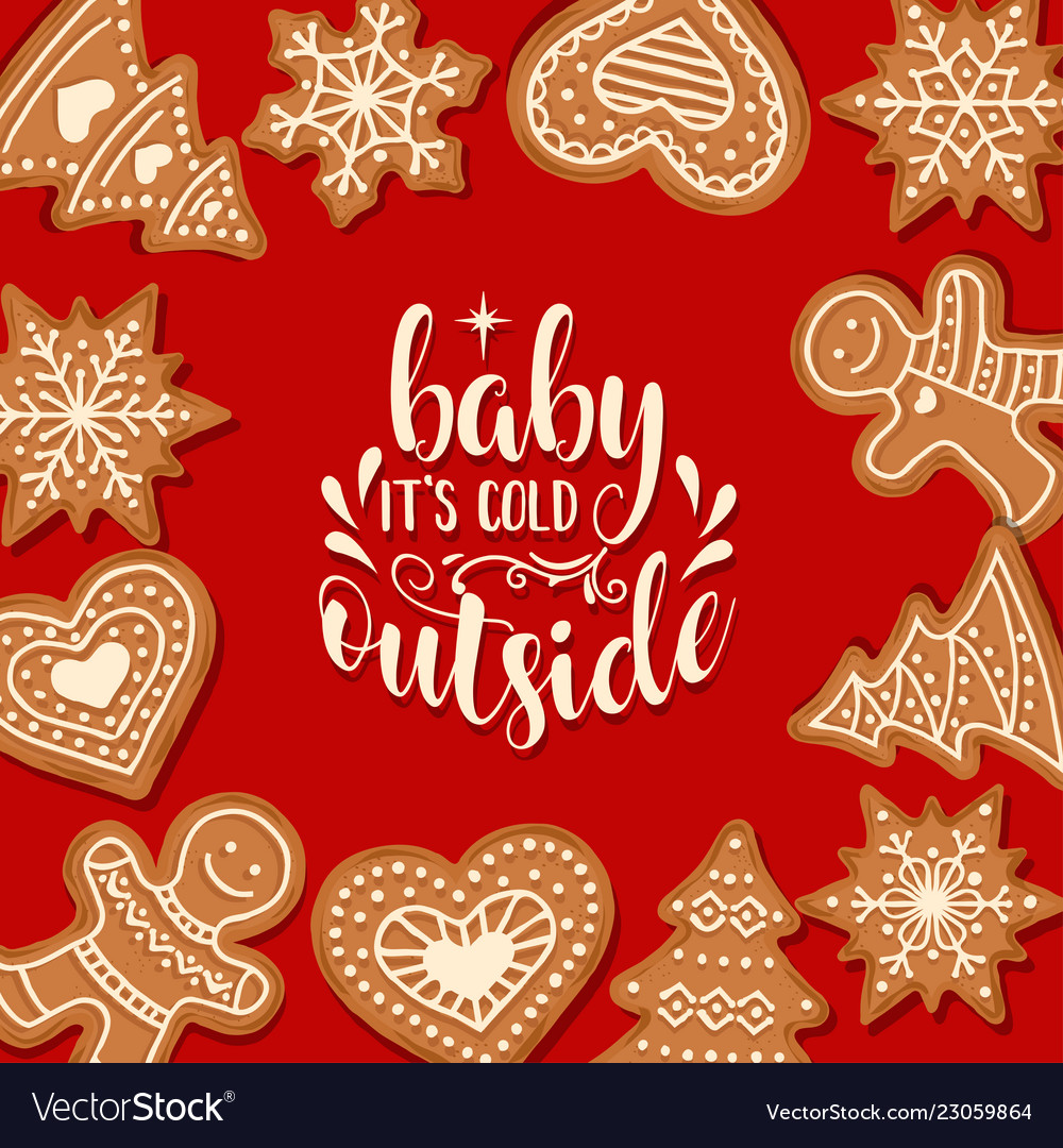 Beautiful christmas card with gingerbread