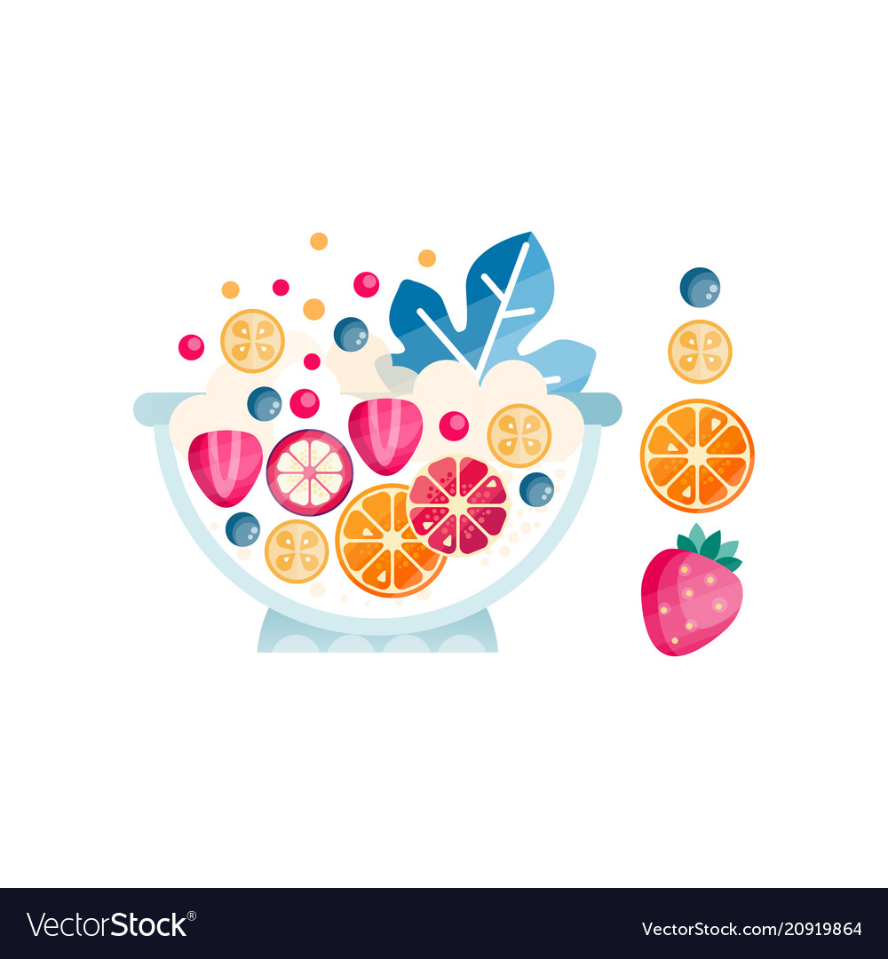 Bowl with ripe fruits and berries delicious and vector image