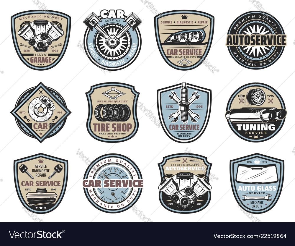 Car service repair mechanic garage badges