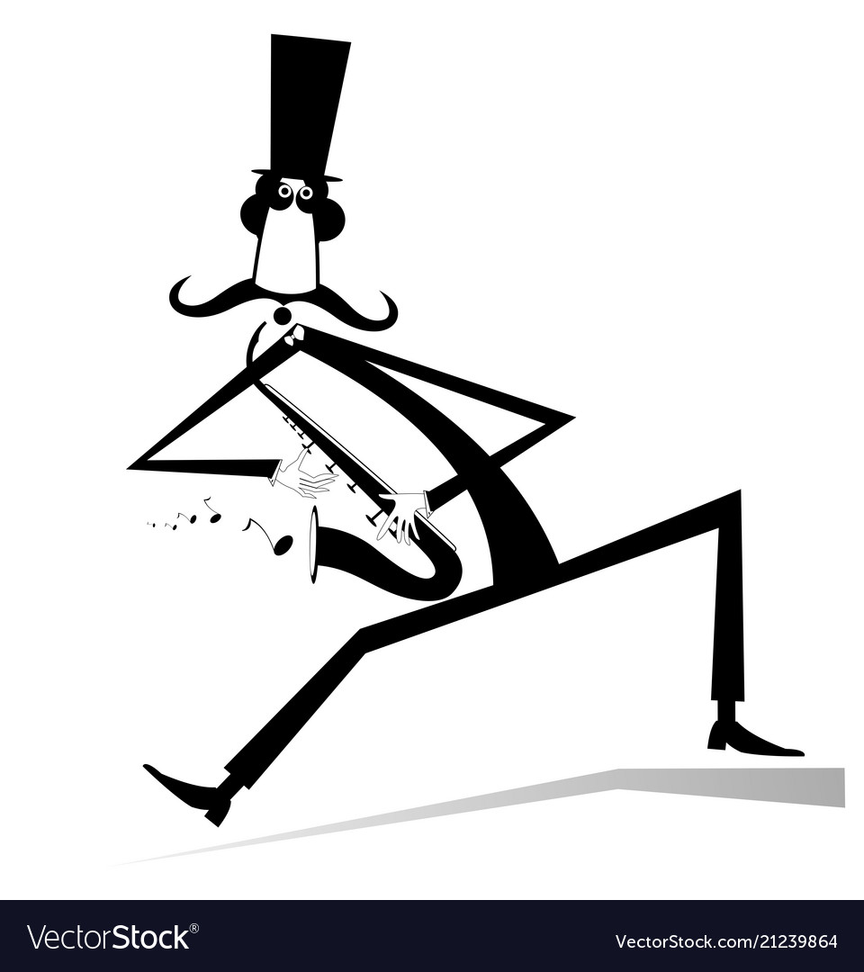 Cartoon long mustache saxophonist iso