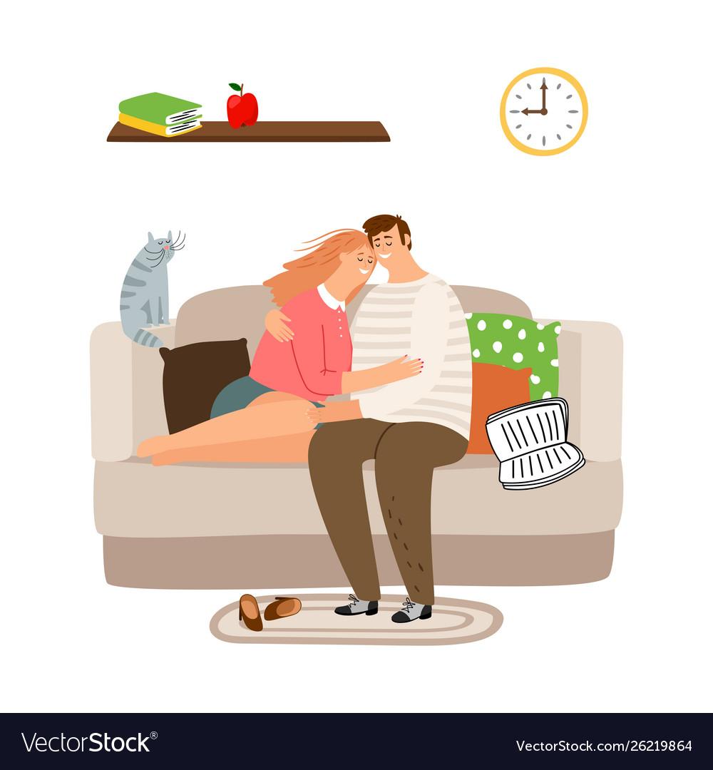 Couple in love on sofa calm