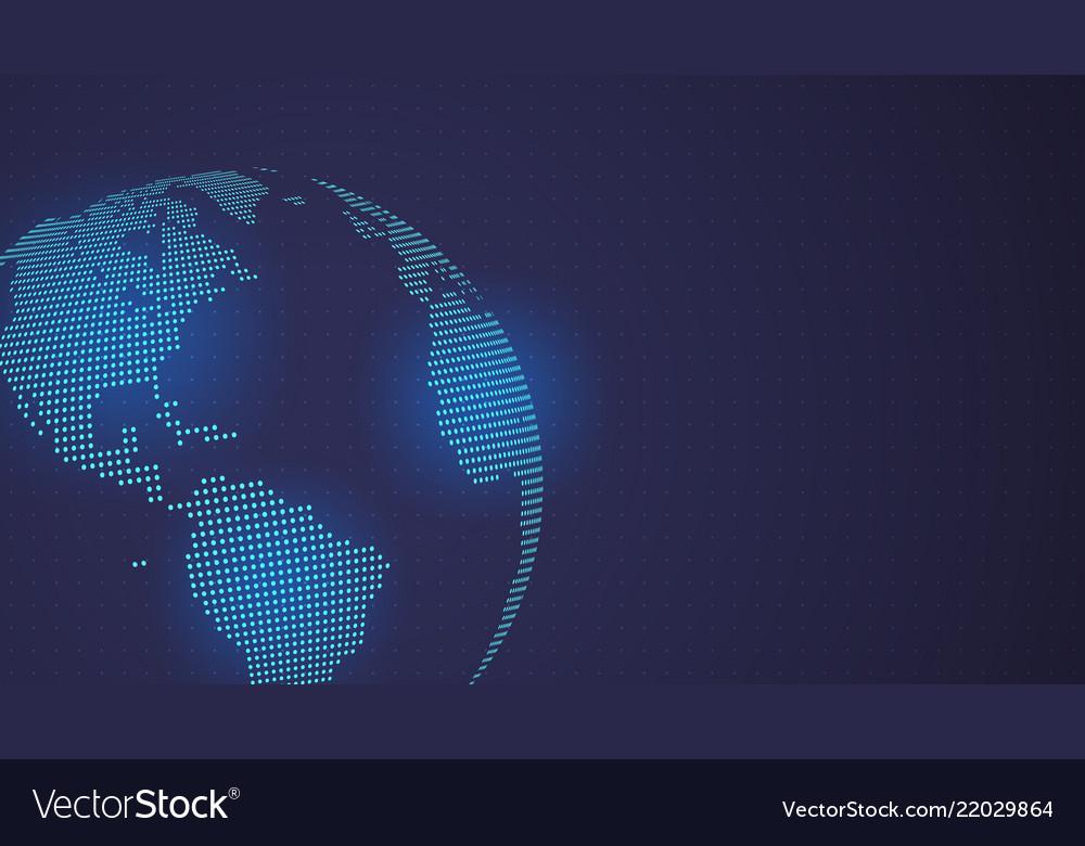 Dark blue background digital dotted globe