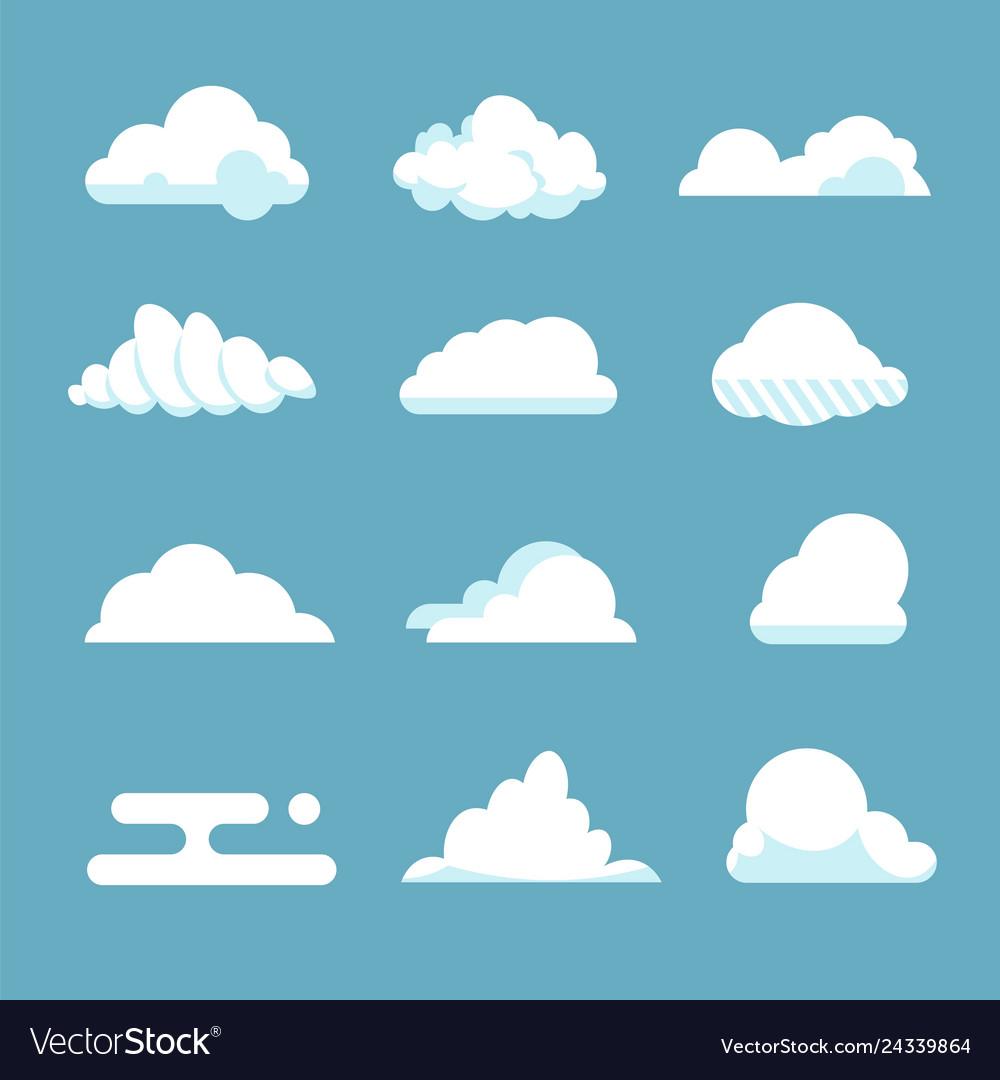 Flat sky cloud blue fluffy cartoon shapes white
