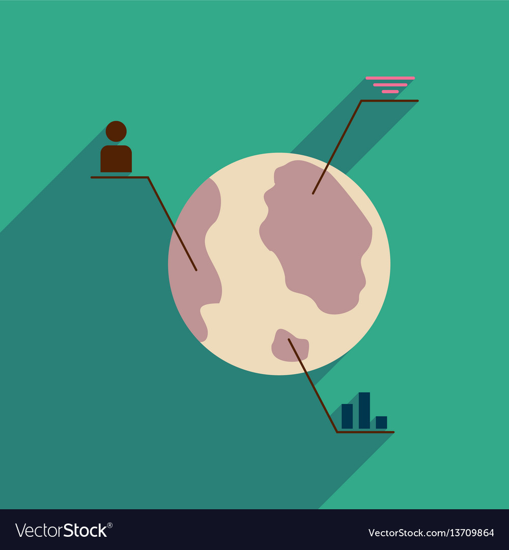 Flat web icon with long shadow earth infographics