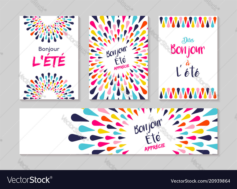 Hello summer french greeting card label set vector image m4hsunfo