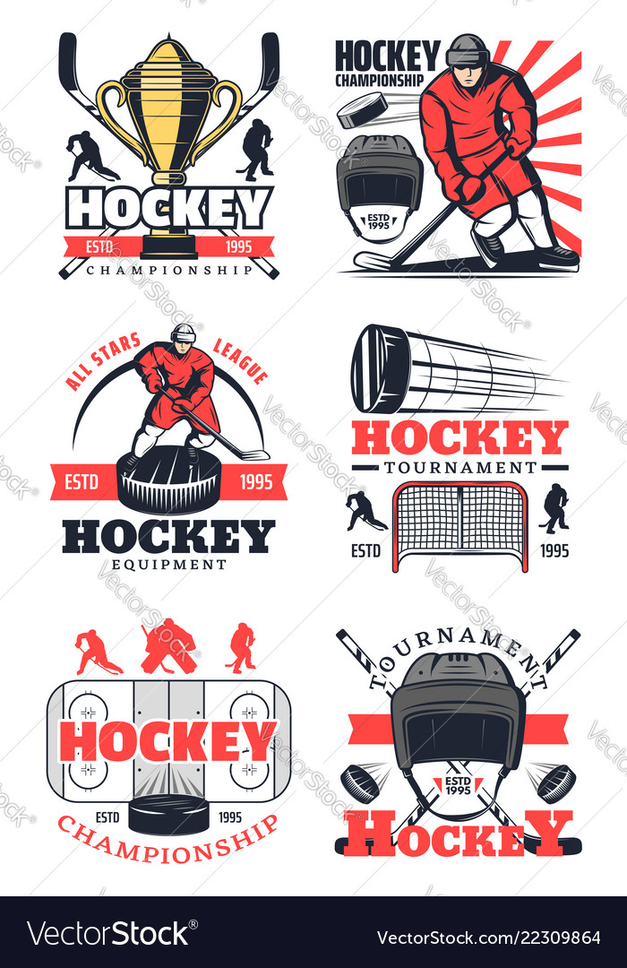 Hockey sport game tournament players icons signs