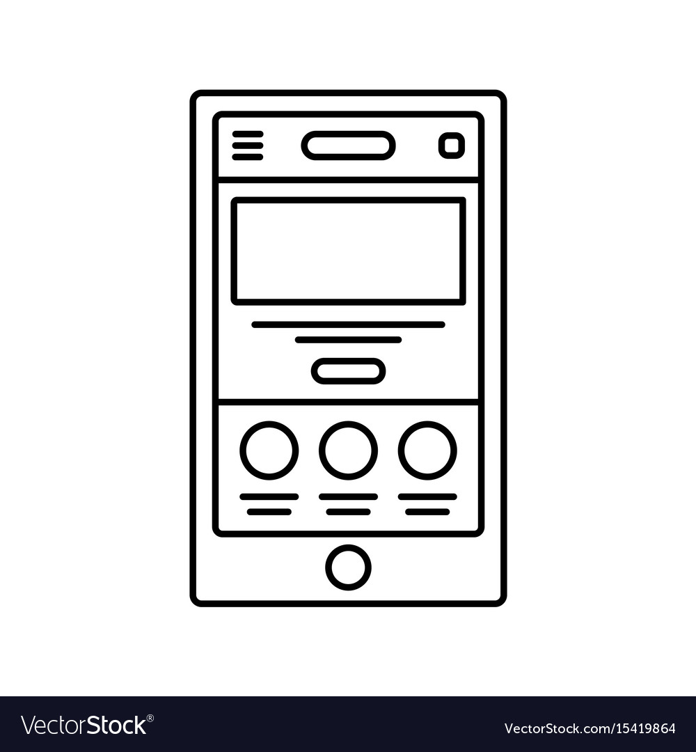 Mobile website wireframe lined icon touch device