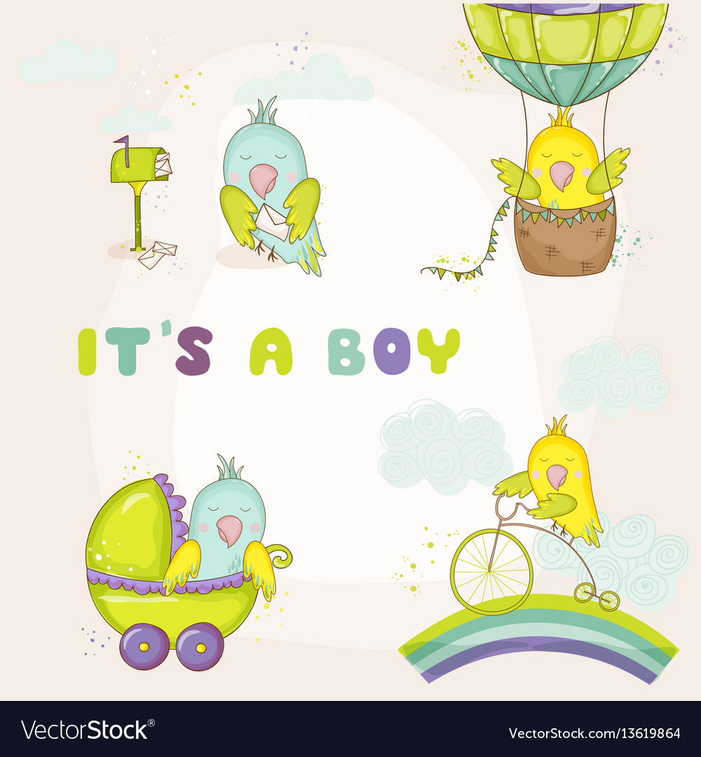 Newborn cute parrot set for baby shower cards