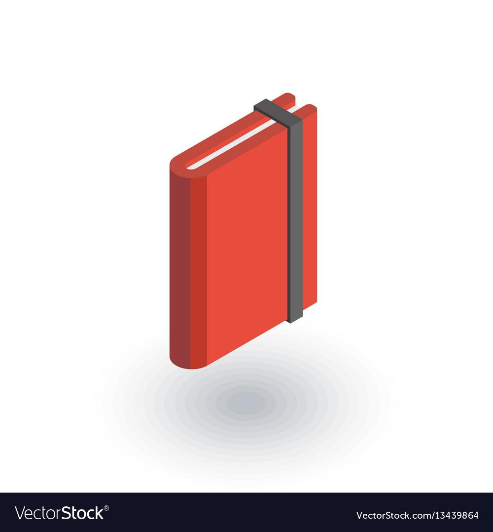 Paper notebook sketchbook notepad isometric flat vector image