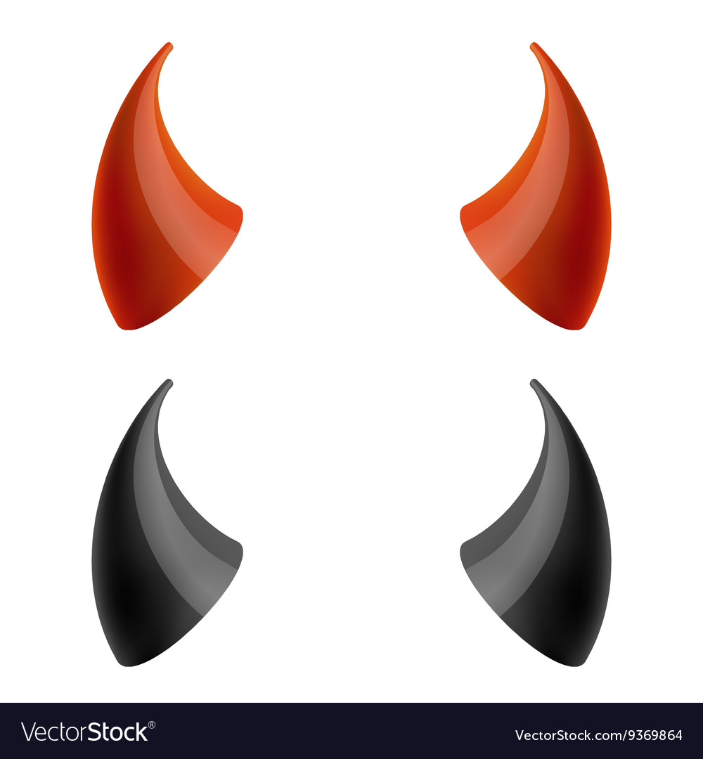 Red and black devil horns Royalty Free Vector Image