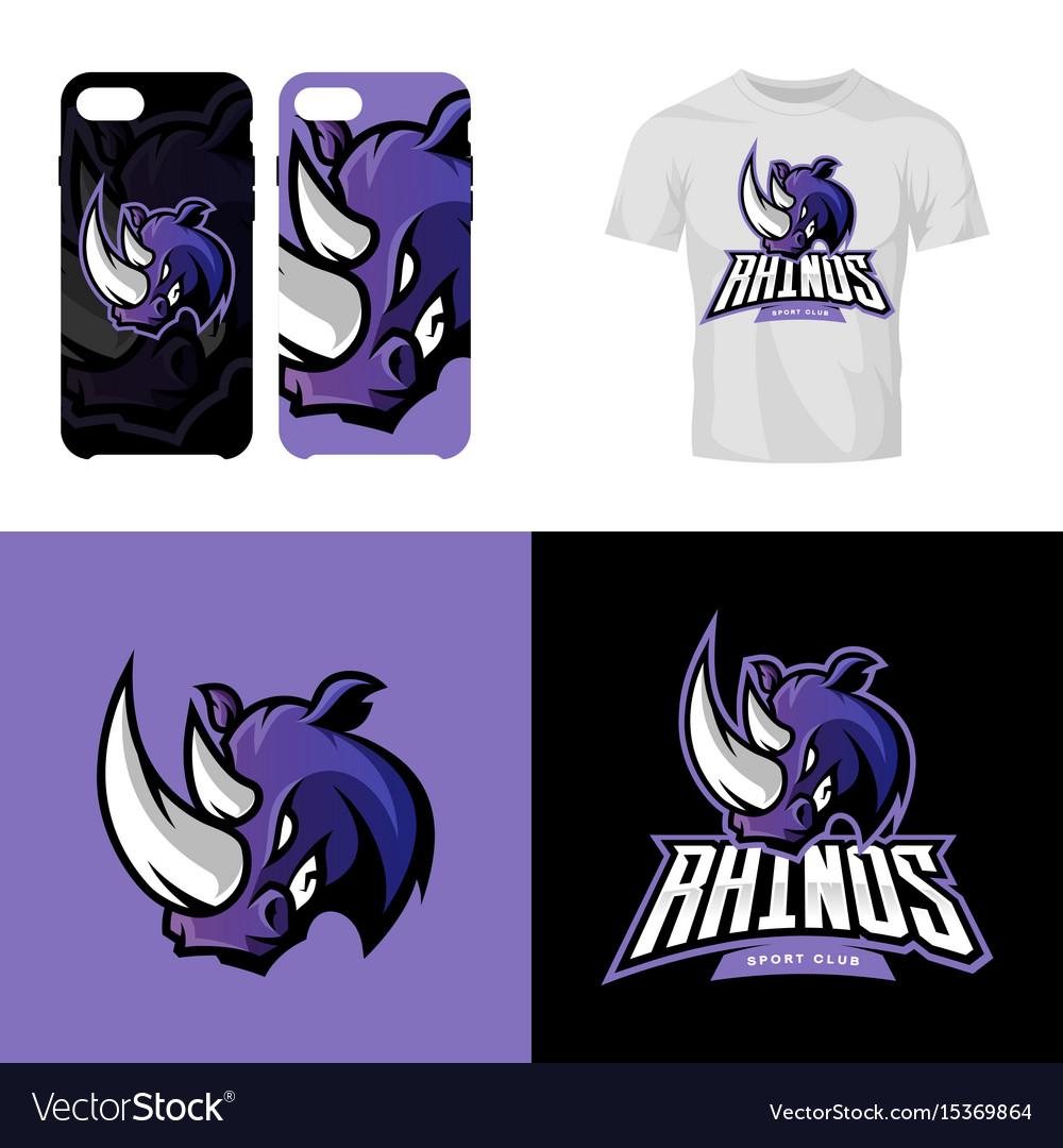 Rhino head sport club isolated logo concept vector image