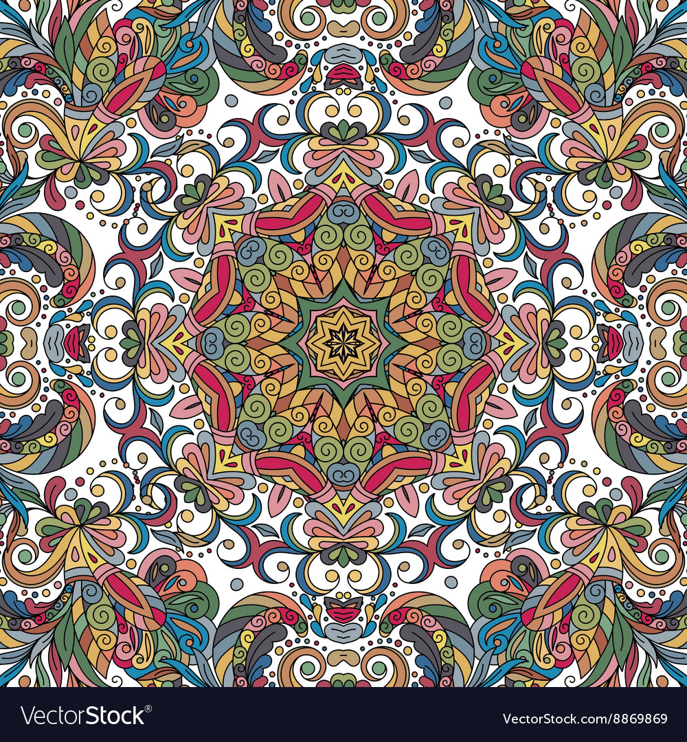 Abstract decorative ethnic floral colorful