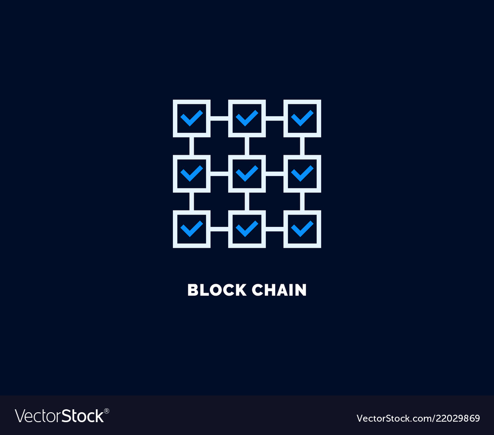 Blockchain icon outline style