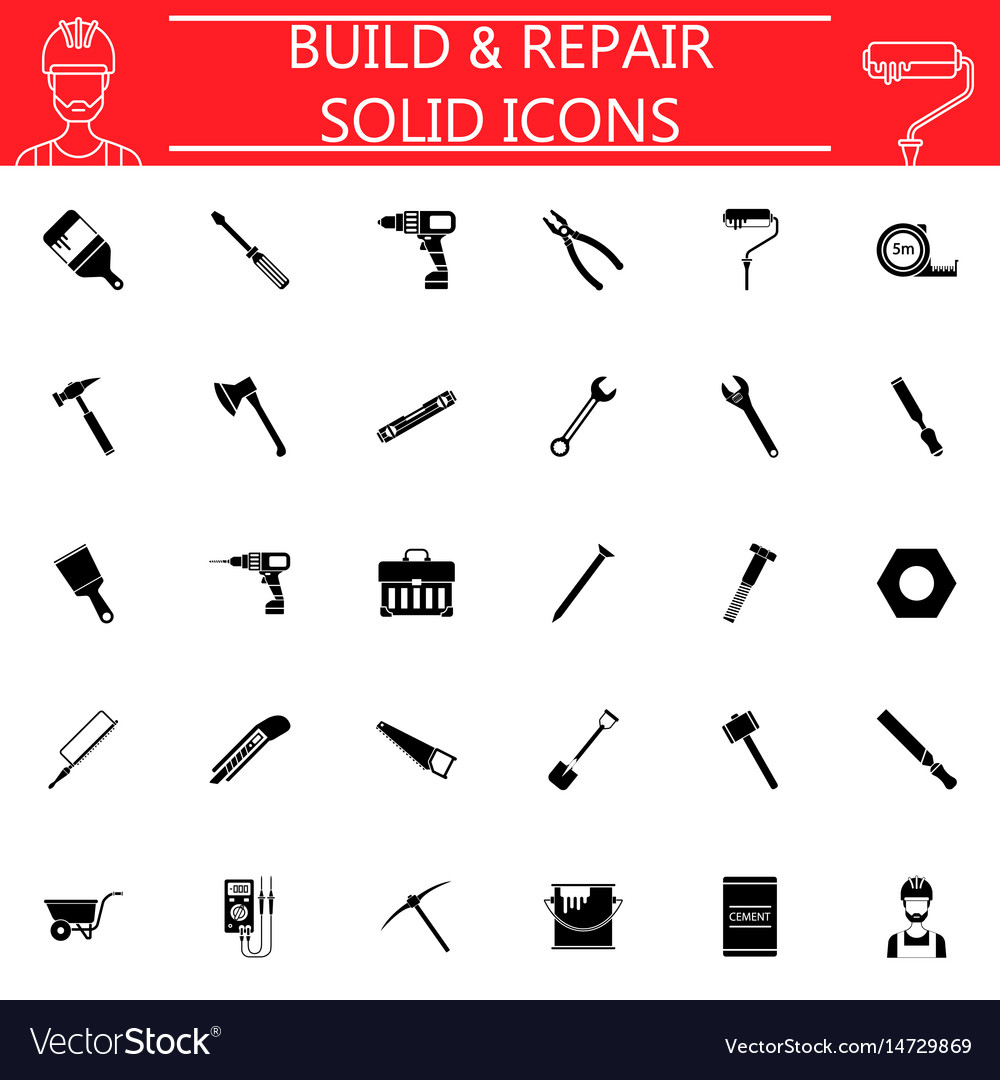 Build and repair solid icon set