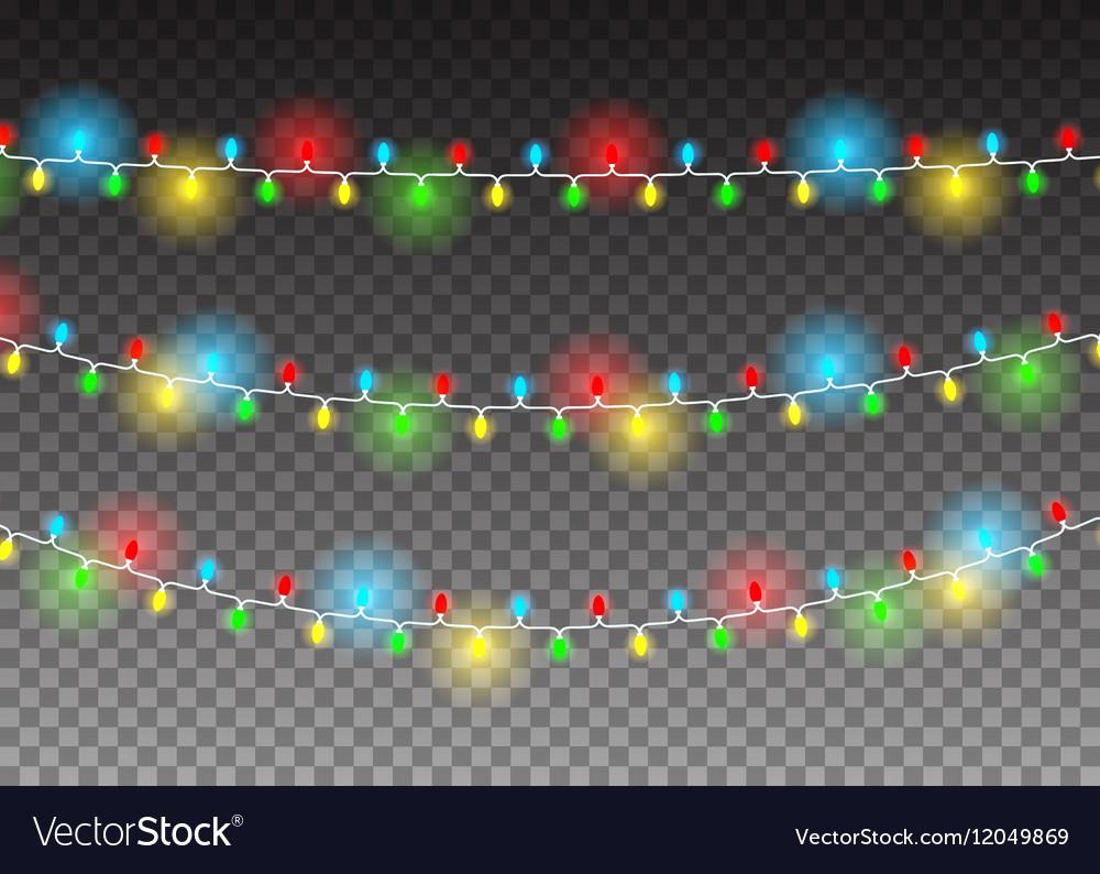 Christmas decoration realistic luminous garland on vector image