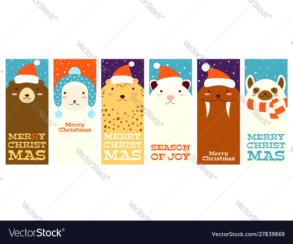 Collection christmas banners with cute animals