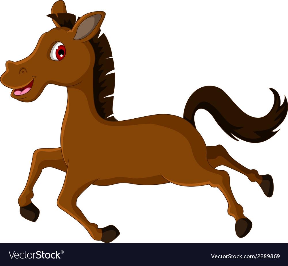 Horse Cartoon Cute brown hors...