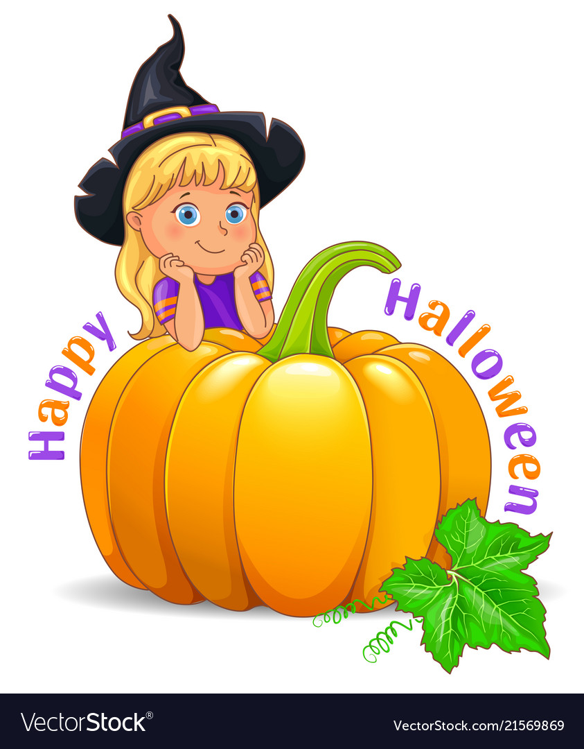 Happy halloween funny girl in black hat with