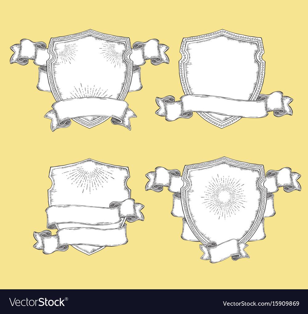 Heraldic shield with various decorative ribbons