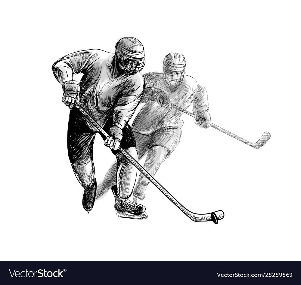 Hockey player hand drawn sketch winter sport