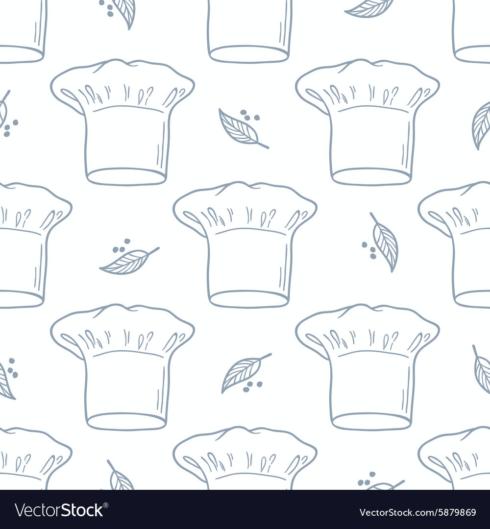 Seamless pattern with hand drawn chef hat Kitchen