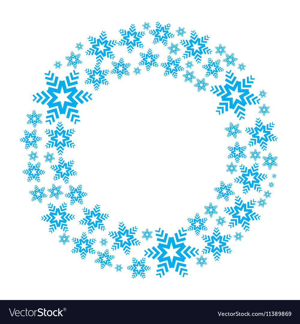 Snowflake wreath isolated vector image