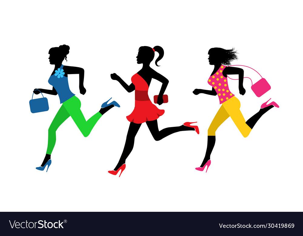 Three fashionable women run for shopping