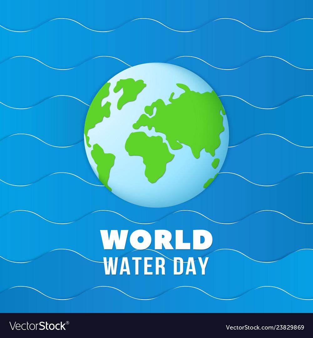 World water day earth globe on blue ocean waves