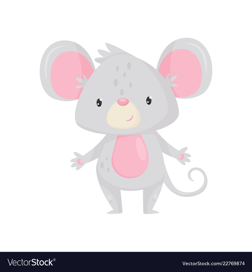Adorable mouse with shiny eyes cartoon rodent