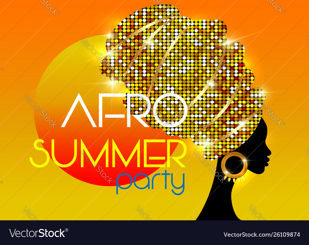 Afro summer party black african head woman turban