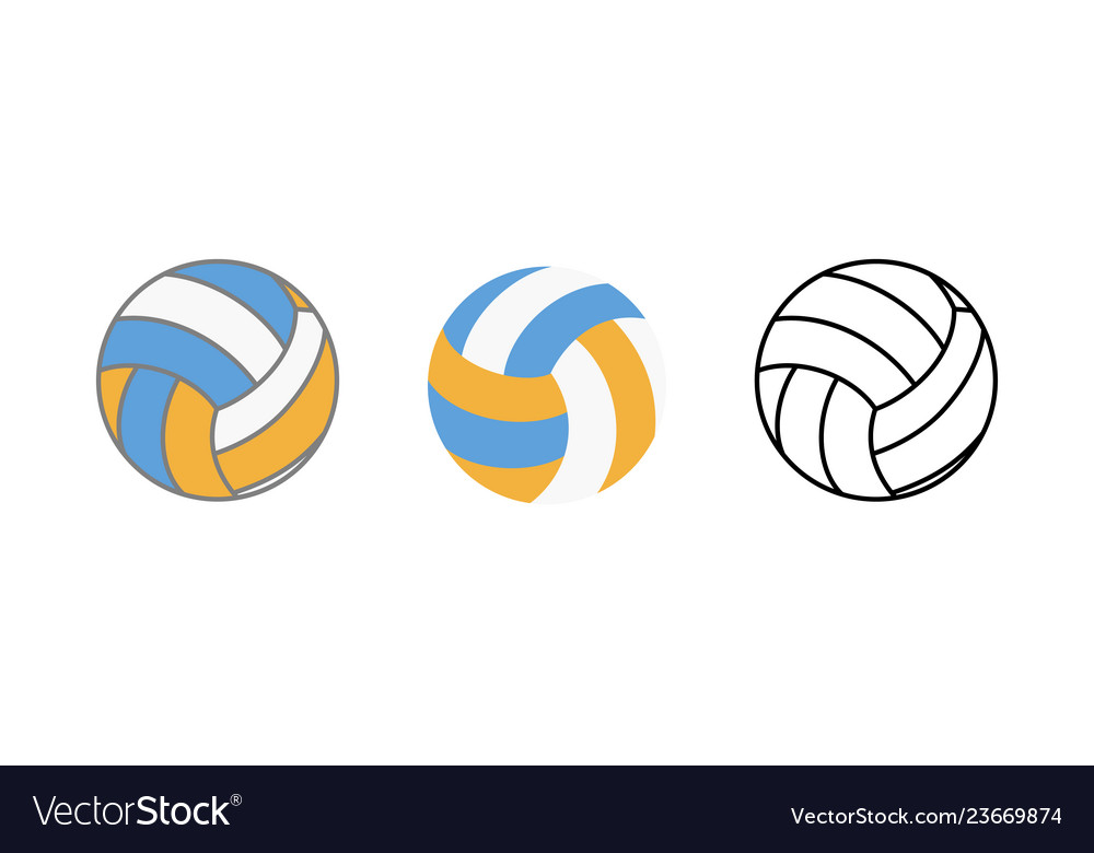 Ball for playing volleyball icon realistic flat