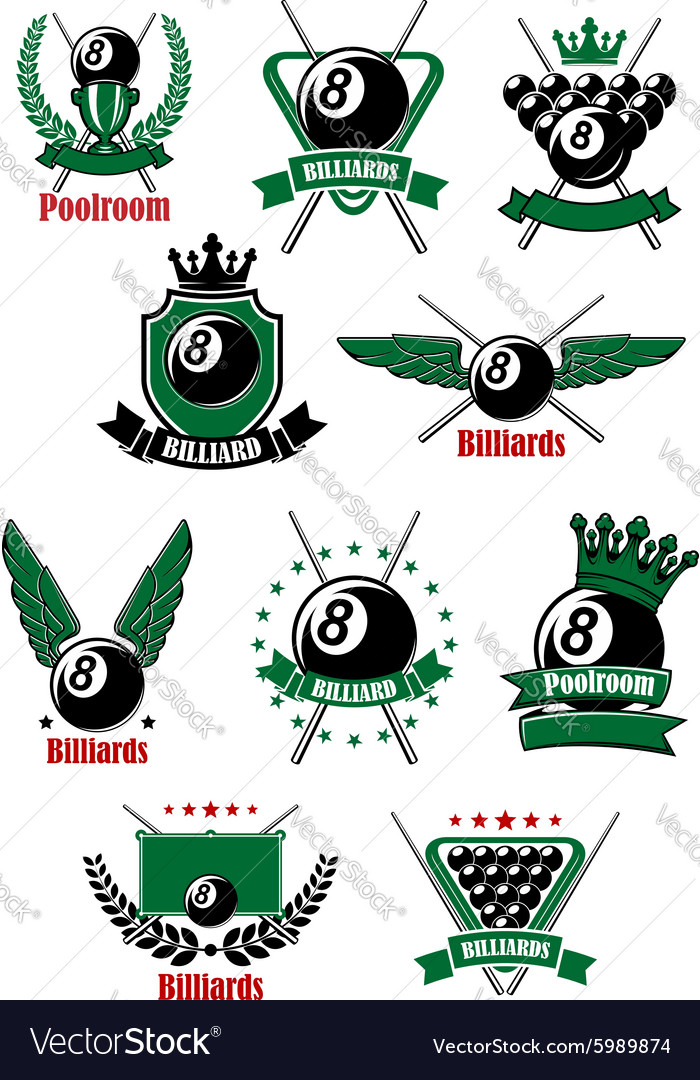 Billiards game icons with sport items vector image
