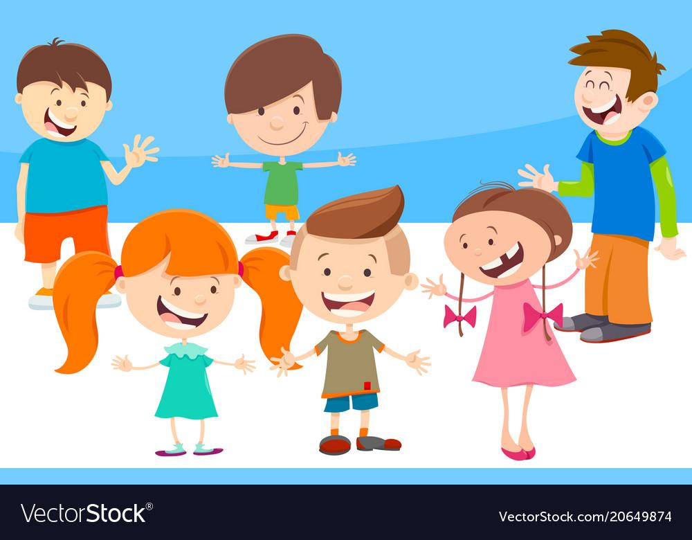 Cartoon kids comic characters group