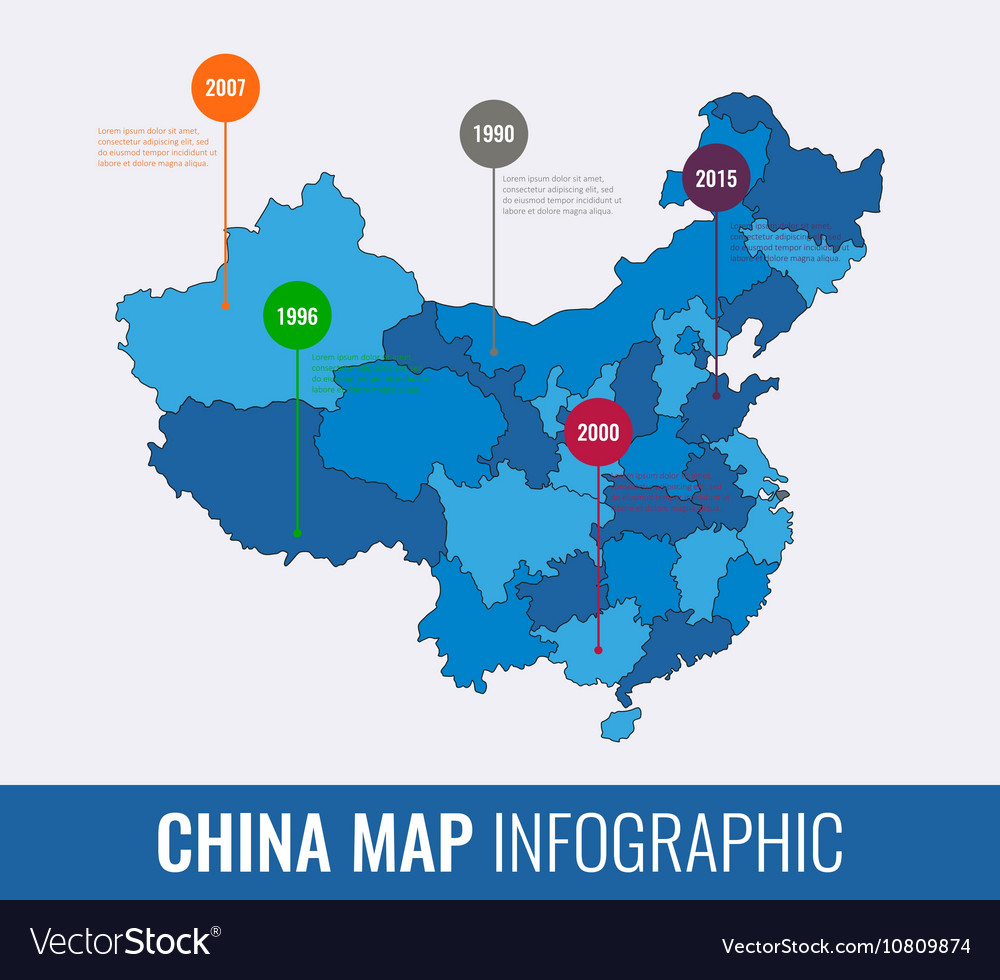 Regions Of China Map.China Map Infographic Template All Regions Are Vector Image