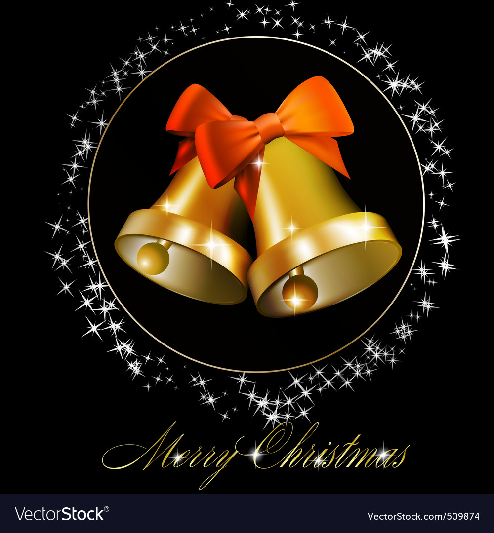 Christmas bells with bows vector image