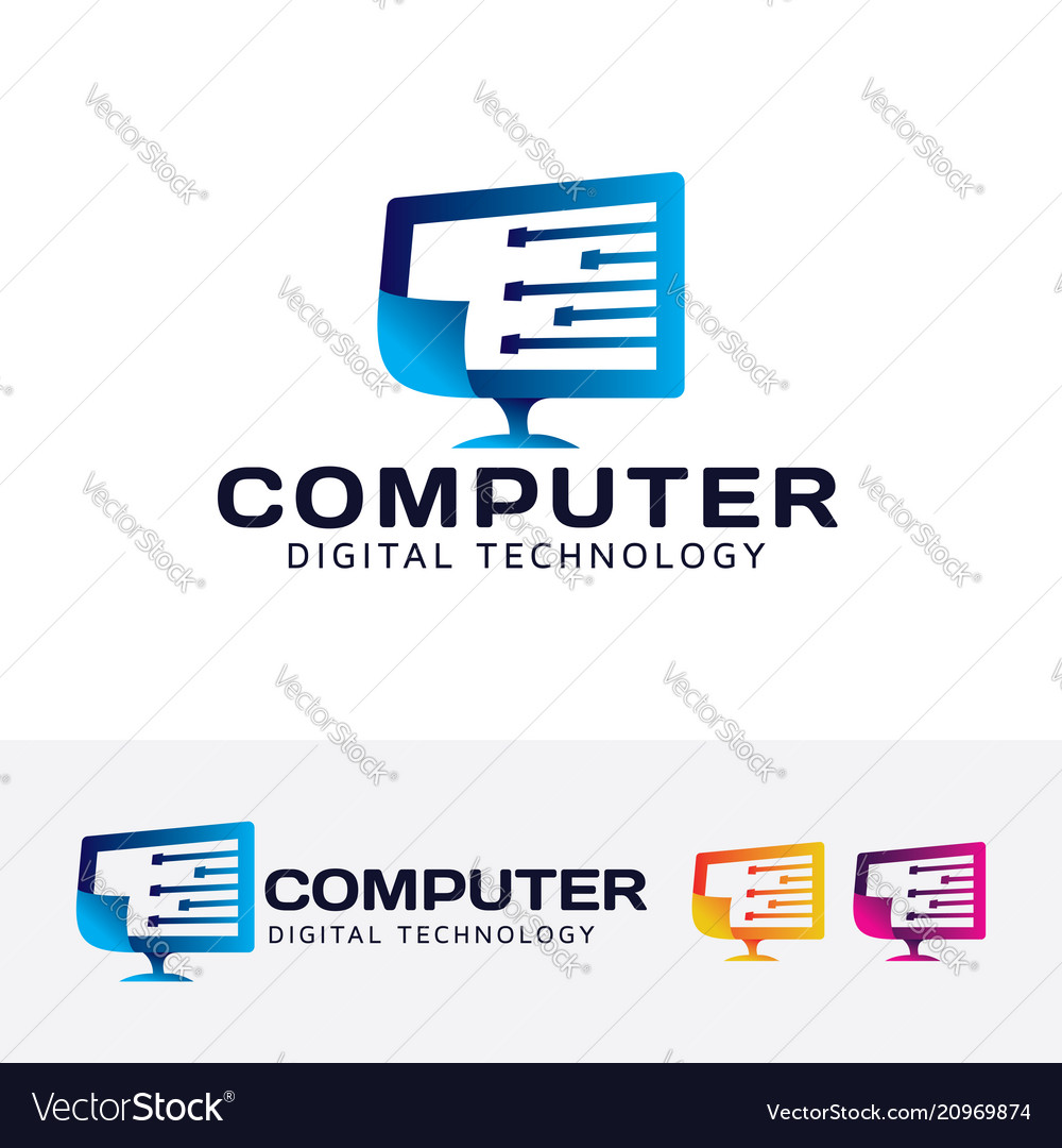 Computer digital technology logo design