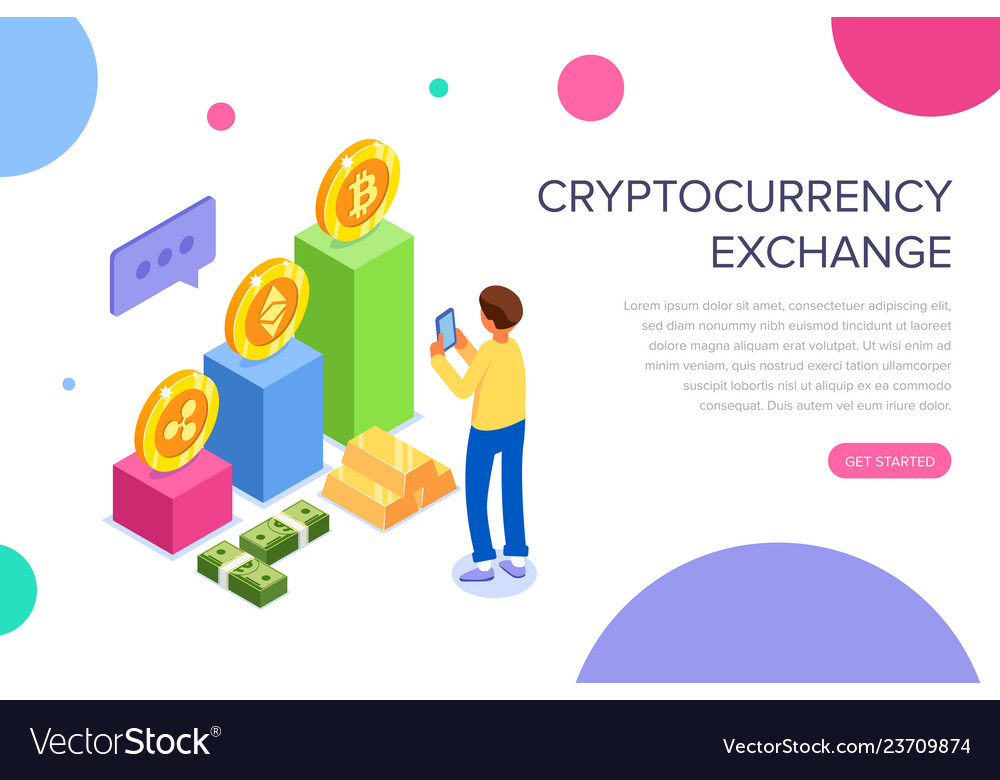 Cryptocurrency exchange concept for web page