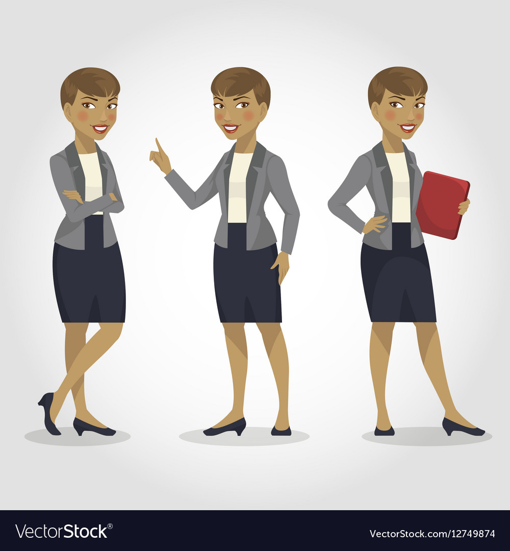 Female character african american business woman vector image