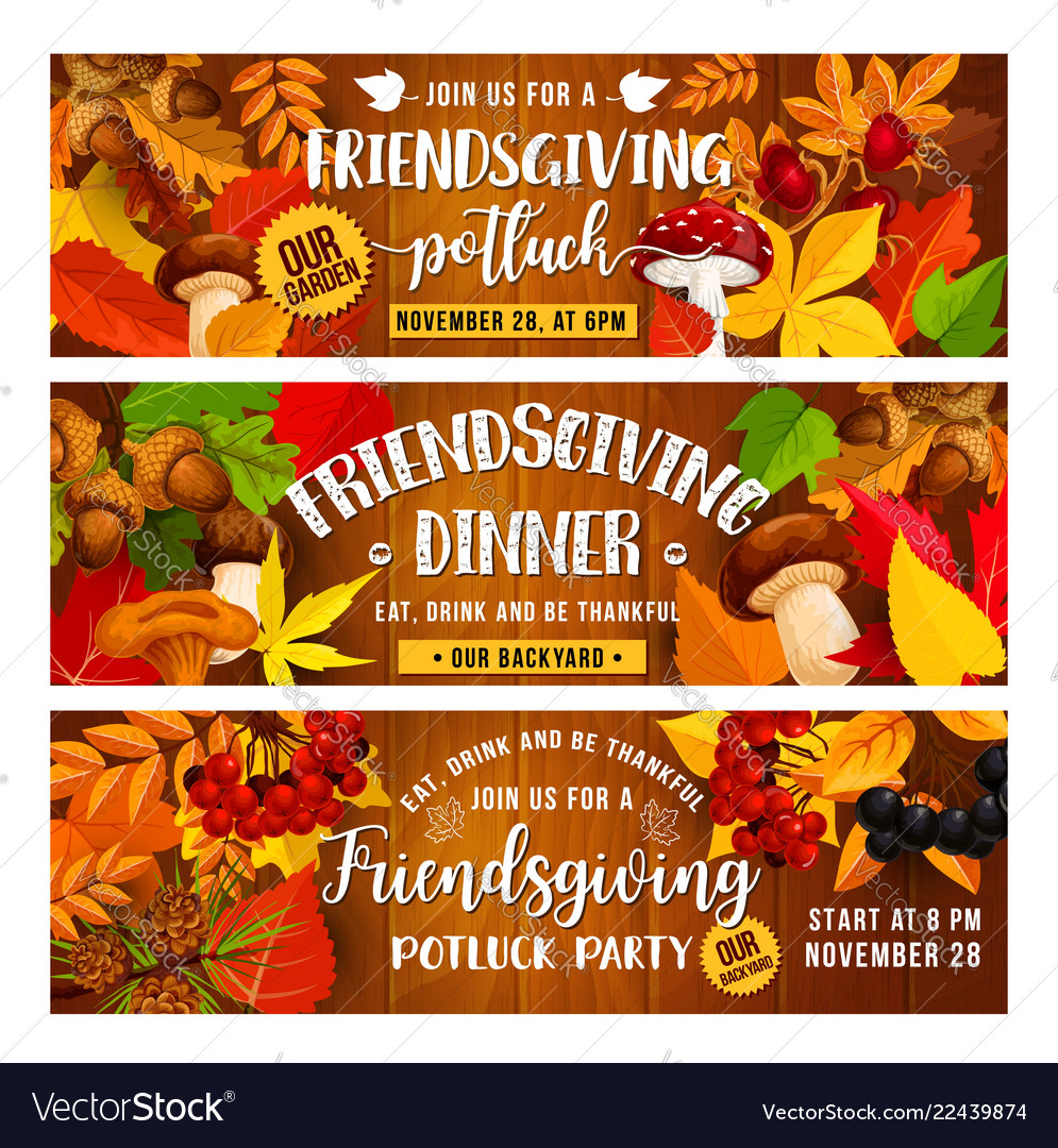 Friendsgiving holiday banners with food