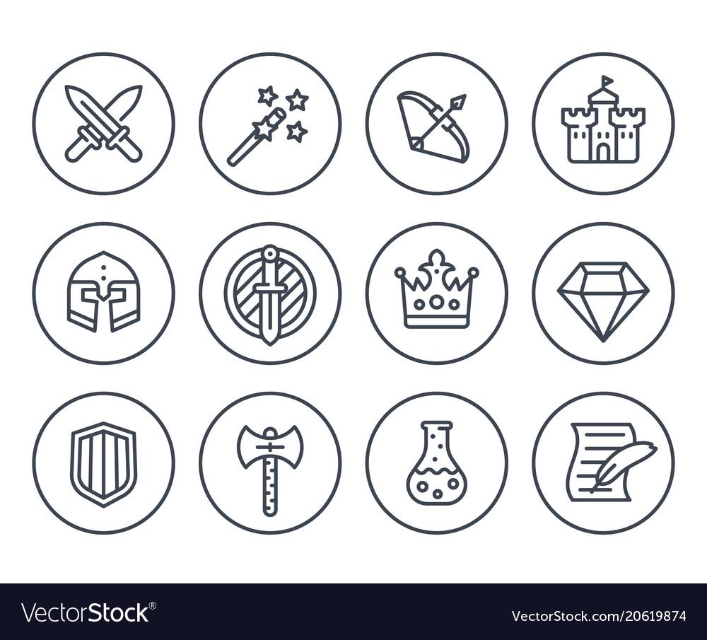Game line icons on white rpg fantasy swords