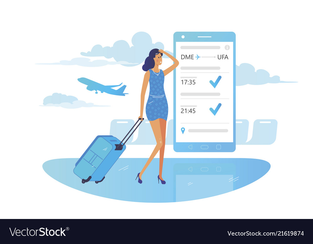 Girl looks at flight information on smartphone