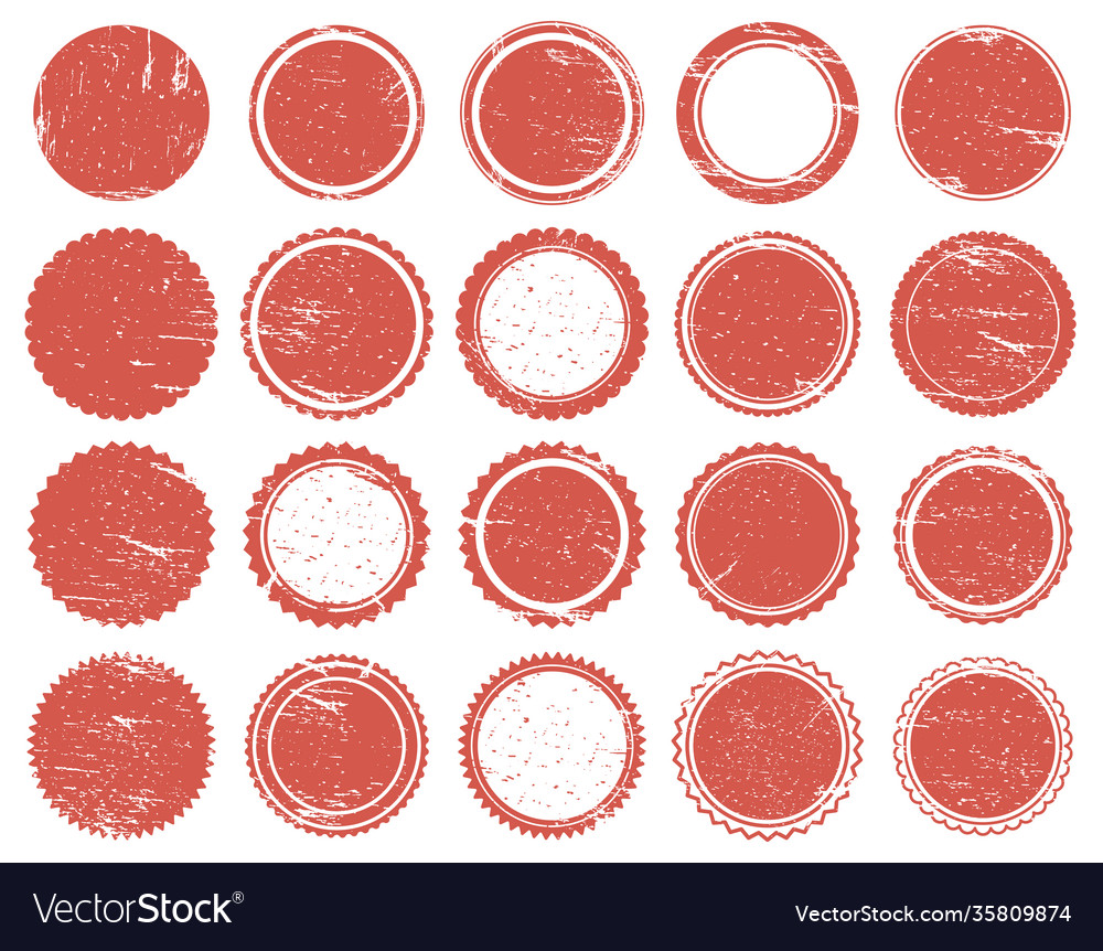 Grunge texture stamp rubber red circle stamps
