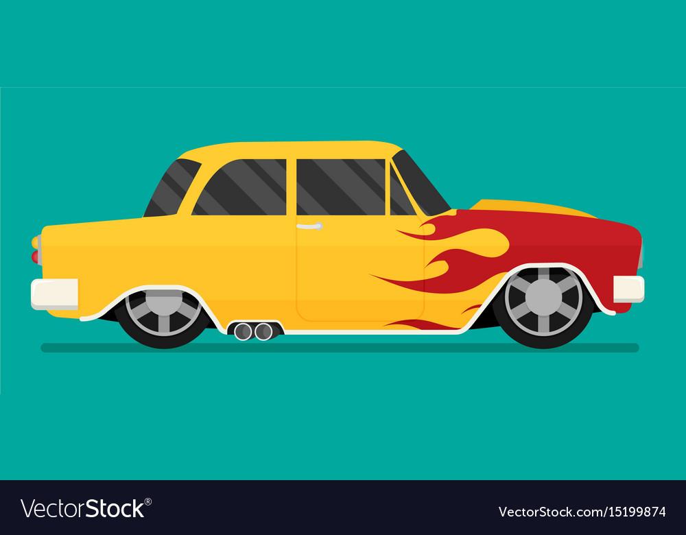 Hotrod flat old school race car Royalty Free Vector Image