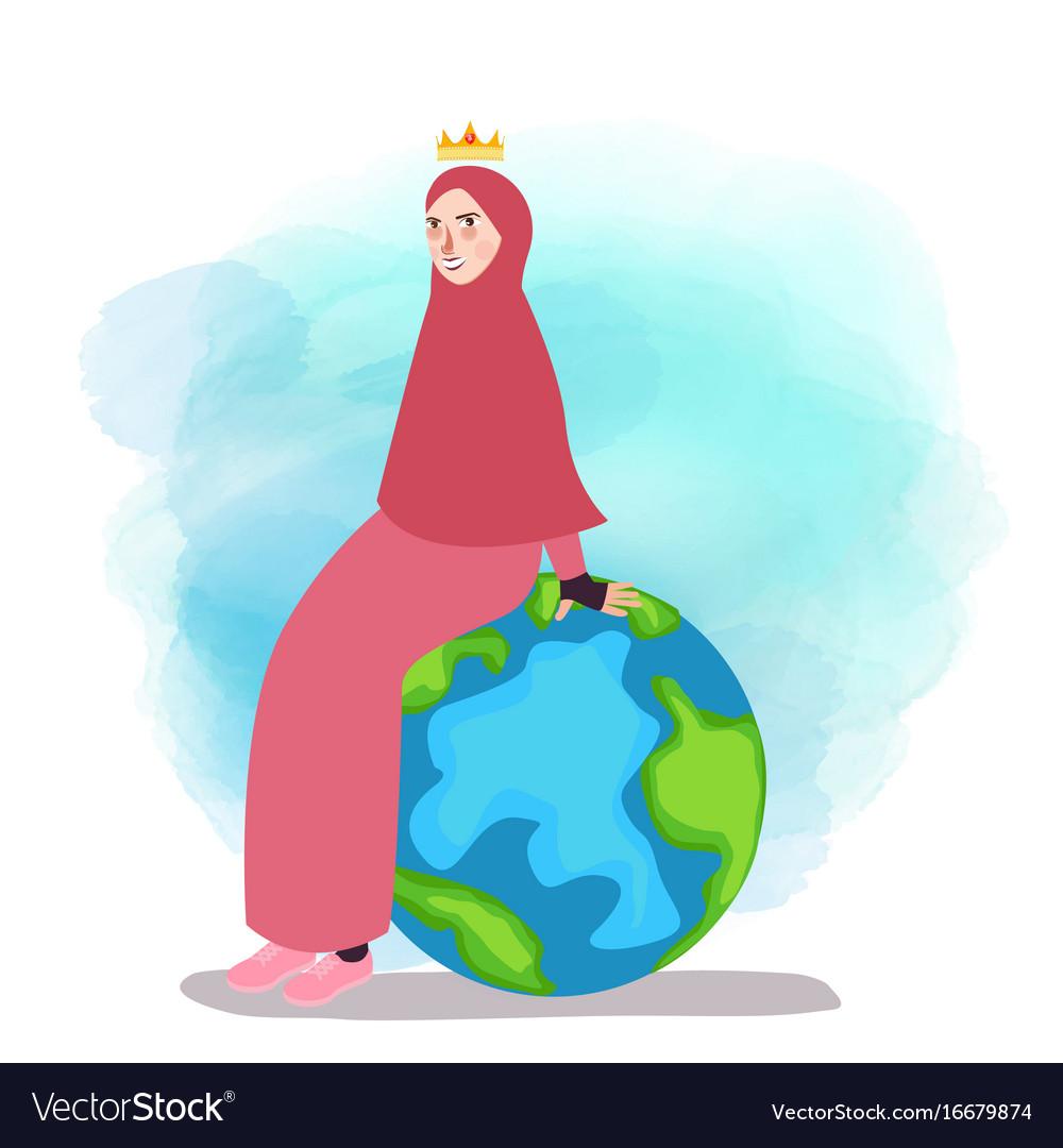 muslim woman empowered sitting on globe world map vector image