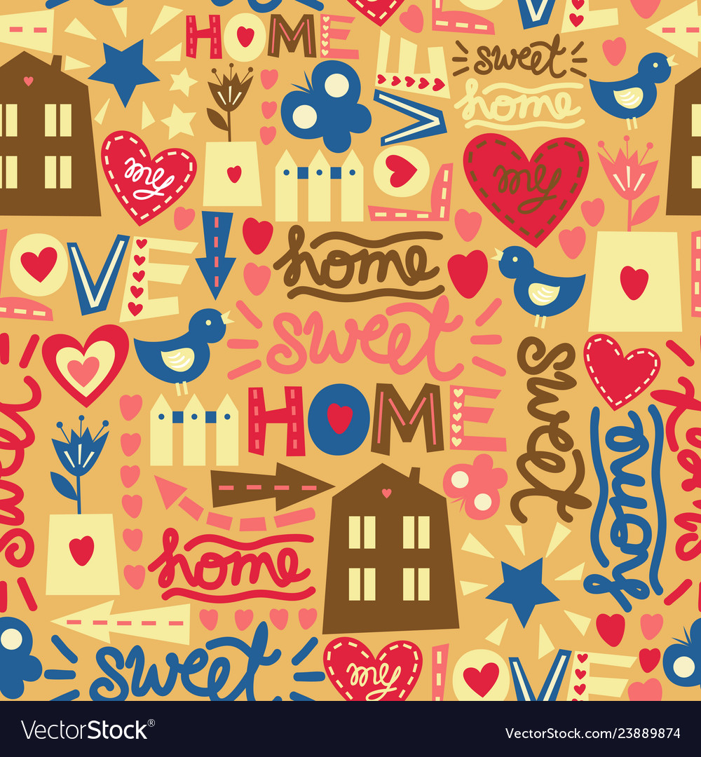 Seamless pattern with words hearts and