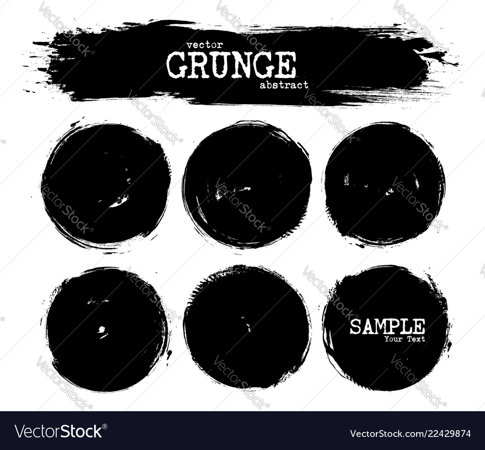 Set abstract grunge circle shapes