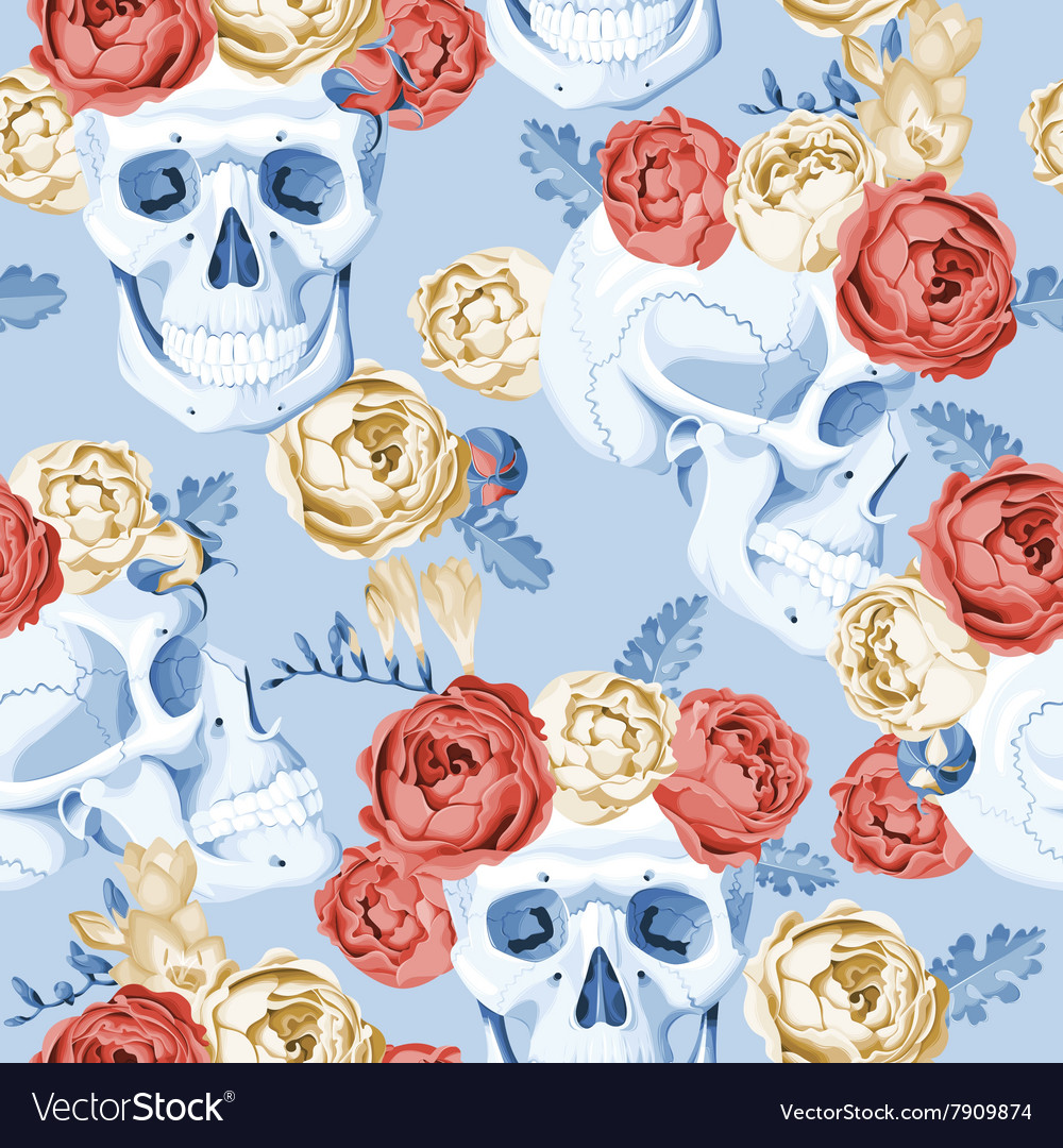 Skulls and roses seamless