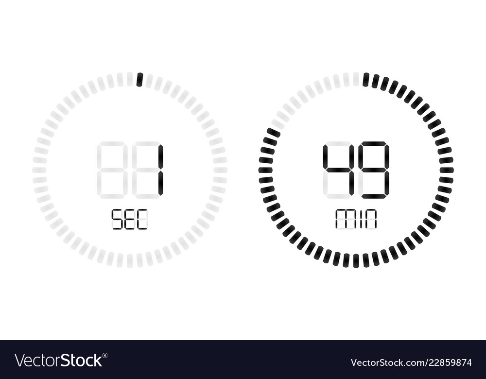 stopwatch digital second minute countdown timer vector image