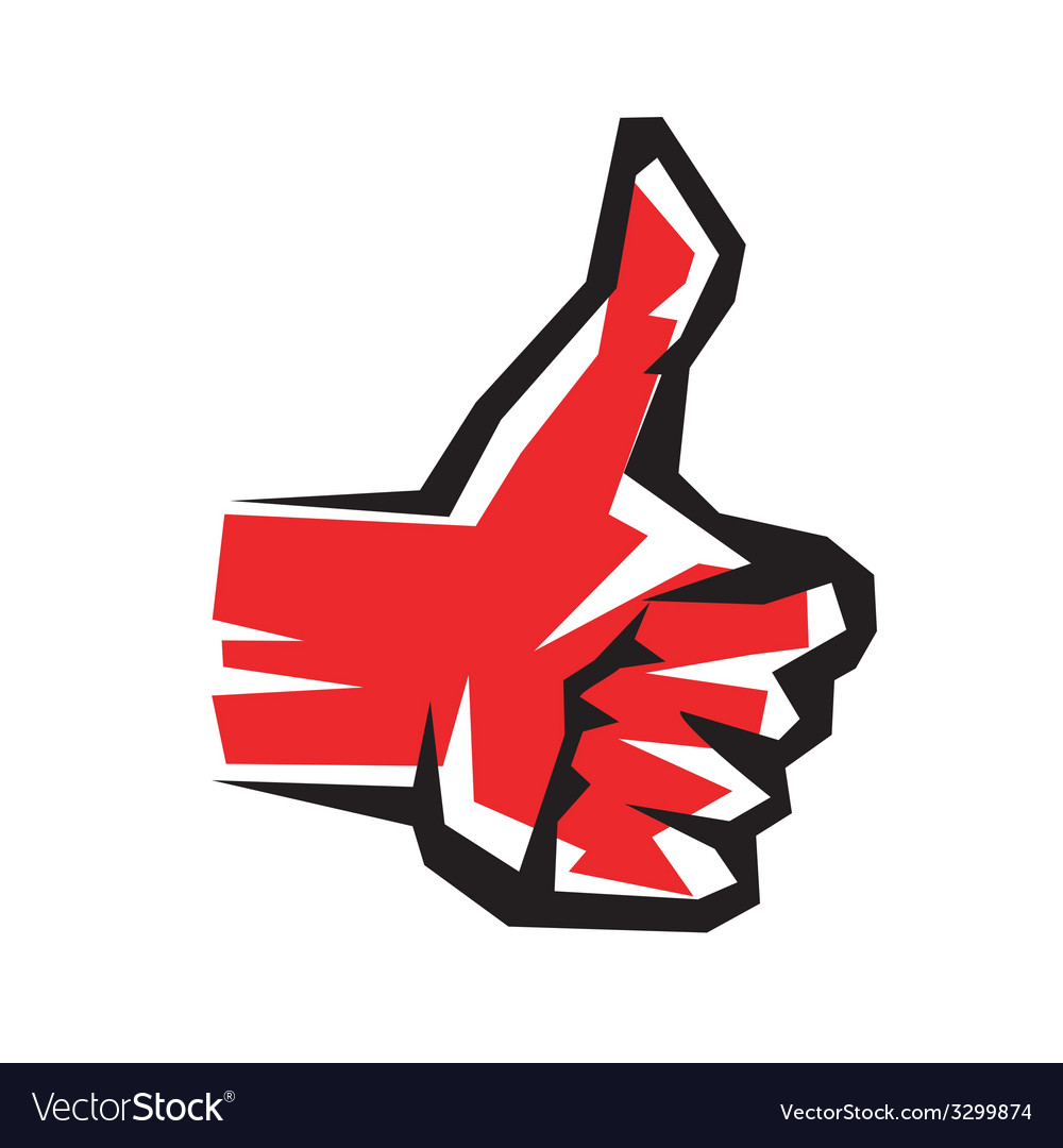 Thumb up stylized symbol vector image